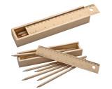 Holzbox mit 8 Buntstiften und Lineal